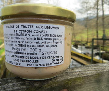 Terrine de truite aux légumes et citron confits 200g - 8€ (40€/kg)